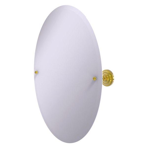 Allied Brass Prestige Que New 26-in Polished Brass Oval Frameless Bathroom Mirror