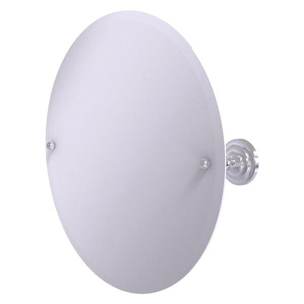 Allied Brass Prestige Que New 22-in Satin Chrome Round Frameless Bathroom Mirror