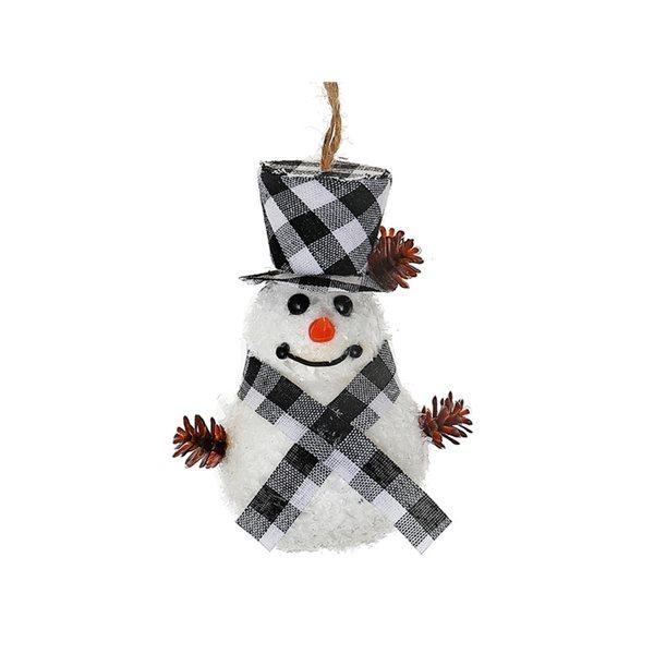 Ensemble d'ornements IH Casa Decor noirs en forme de bonhomme de neige, paquet de 12