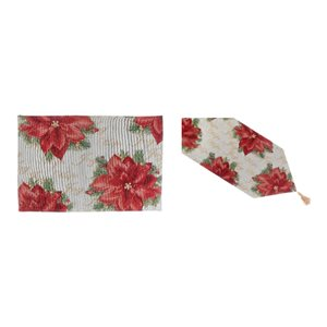 IH Casa Decor Fitted Table Cover Set with Classic Poinsettia