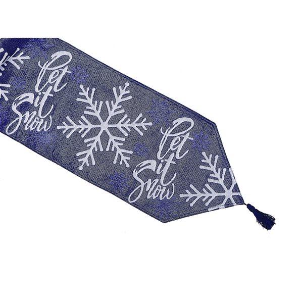 Tapis de table en tissu de tapisserie ajusté par IH Casa Decor, 54po, bleu avec motif Let it snow