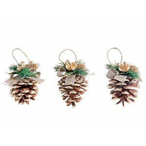 IH Casa Decor Gold Pine Cone Ornament Set - 3-Pack