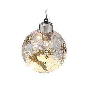 IH Casa Decor Gold Reindeer Ornament Set with White Light - 12-Pack