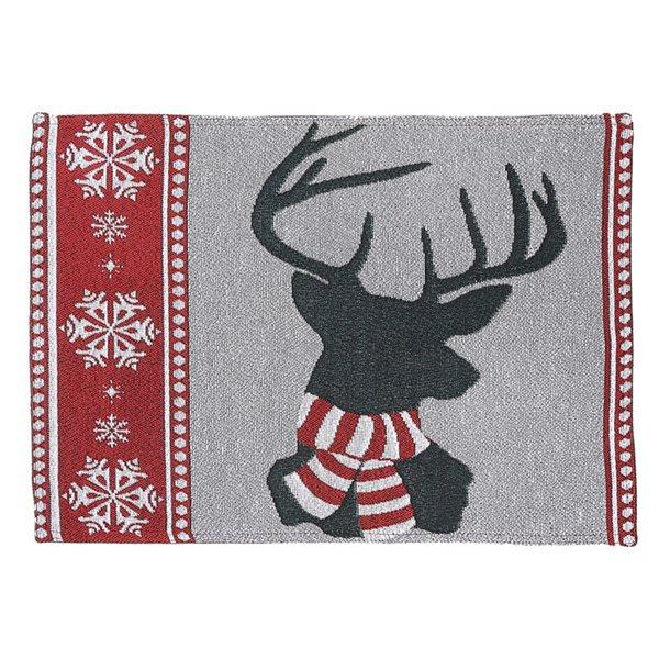 Napperon multicolore avec renne par IH Casa Decor, ensemble de 12