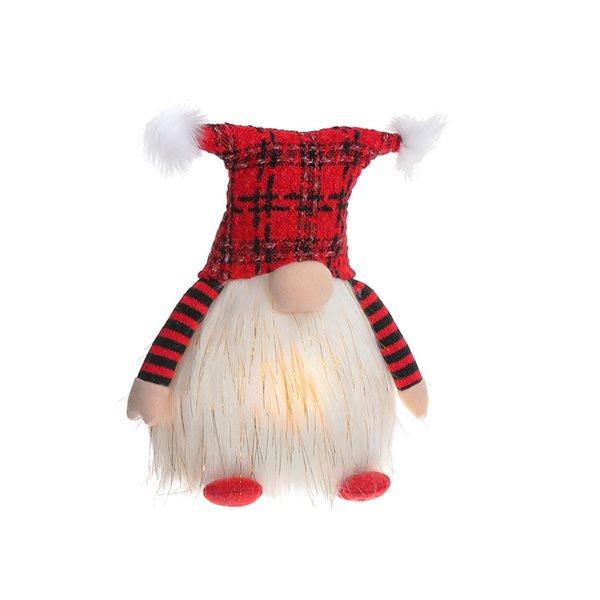 Décoration de Noël IH Casa Decor gnome rouge et blanc avec lumière DEL