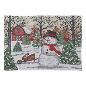 IH Casa Decor Fitted 54-in Tapestry Runner with Snowman and Red Barn