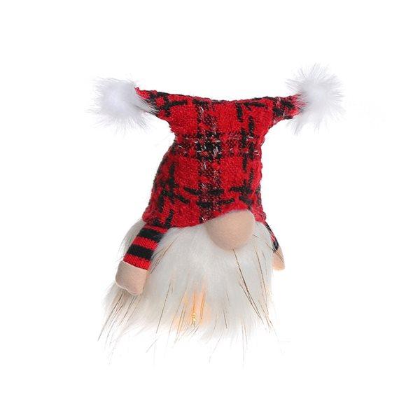 Décoration de Noël IH Casa Decor gnome en peluche blanc et rouge avec lumière DEL