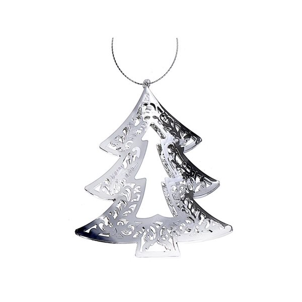 IH Casa Decor Silver Metal Tree Ornament Set - 6-Pack