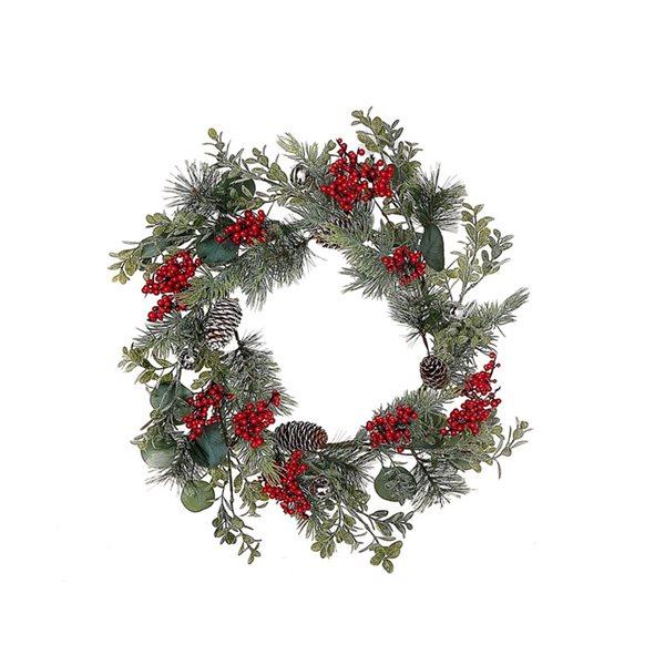 IH Casa Decor 18-in Indoor Eucalyptus Berry Pine Artificial Christmas Wreath