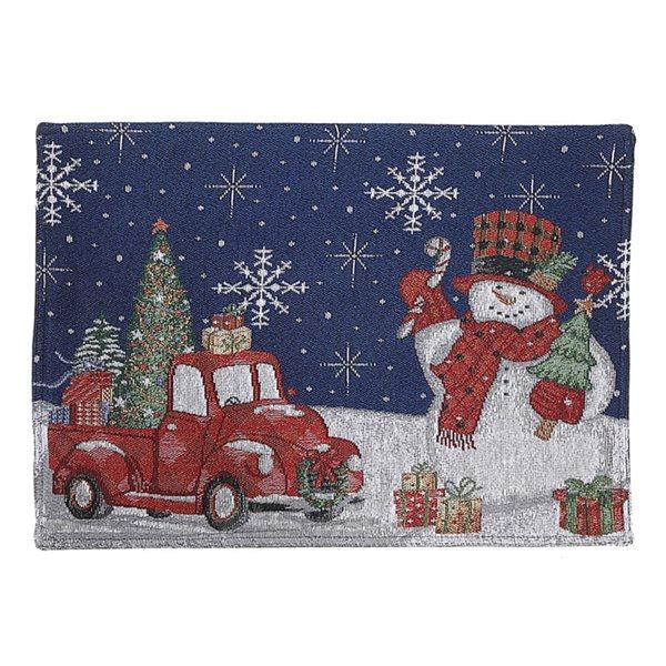 Napperon multicolore avec bonhomme de neige et cadeaux par IH Casa Decor, ensemble de 12