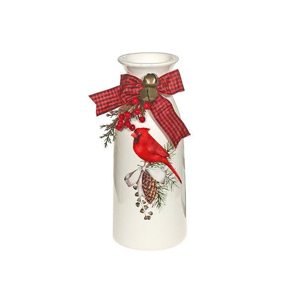 Décoration de Noël IH Casa Decor cardinal blanc et rouge