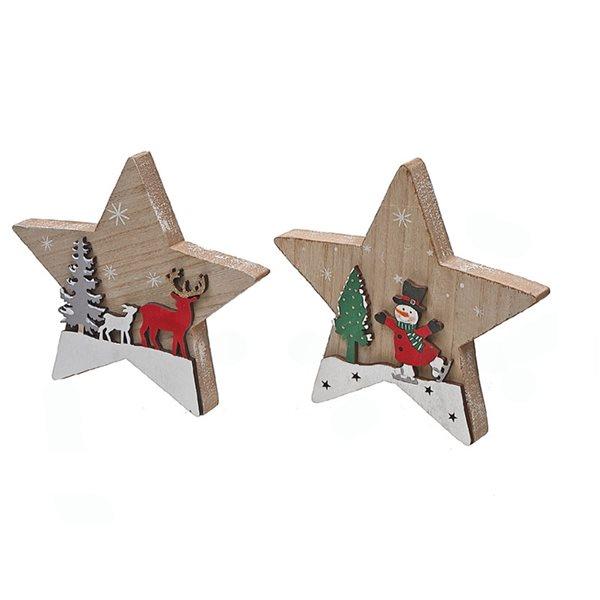Décoration de Noël IH Casa Decor scène hivernale rouge et bois en forme d'étoile, ensemble de 4