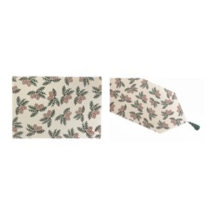 IH Casa Decor Fitted Table Cover Set with Pinecone Pattern