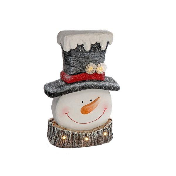 Décoration de Noël IH Casa Decor tête de bonhomme de neige avec lumière DEL