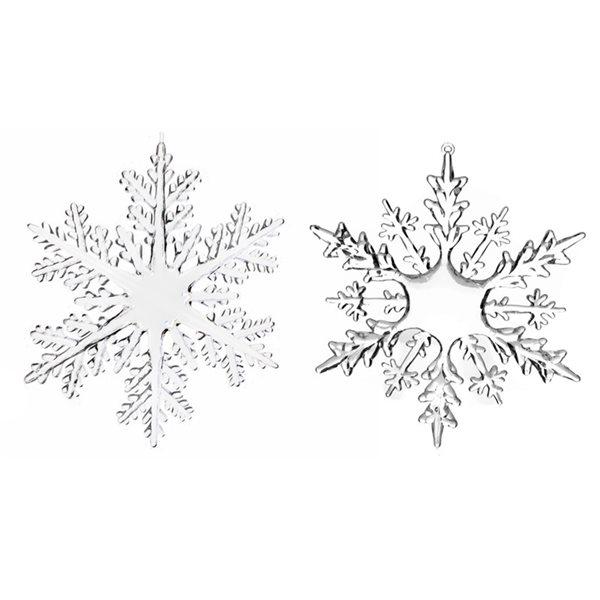 Ensemble d'ornements transparents IH Casa Decor en forme de flocon de neige, paquet de 6