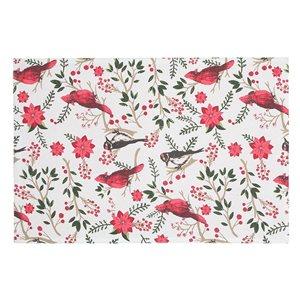 IH Casa Decor Multicolour Cardinal Poinsettia Cotton Placemat - Set of 12
