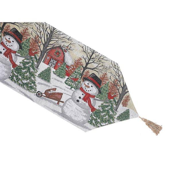 Tapis de table en tissu de tapisserie ajusté par IH Casa Decor, 36po, bonhomme de neige avec grange rouge
