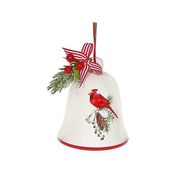 Ensemble de cloches de Noël multicolores IH Casa Decor avec cardinal, paquet de 4