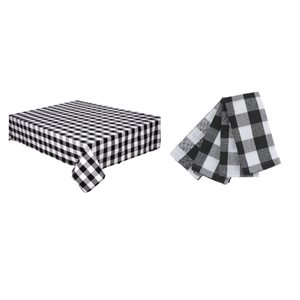 IH Casa Decor Fitted White and Black Buffalo Table Cover Set