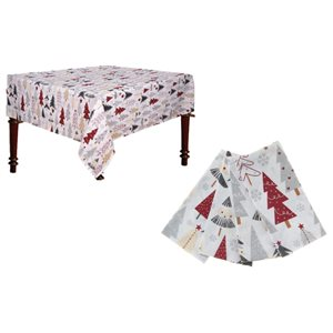 IH Casa Decor Fitted Table Cover Set with Multicoloured Tree
