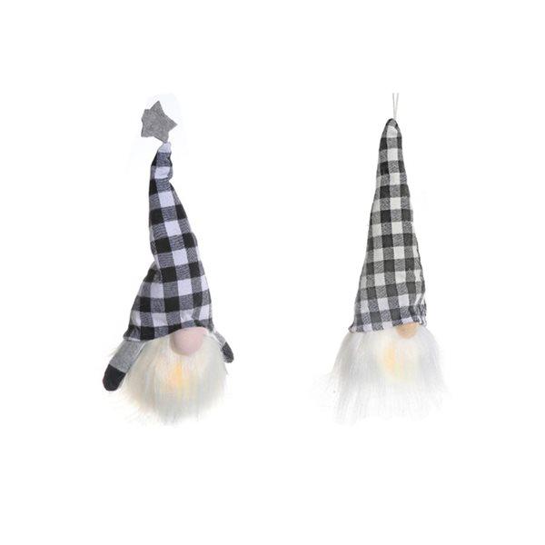 IH Casa Decor Gnome with Black/White Hat Christmas Decoration - Set of 2