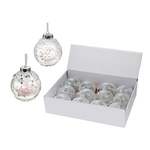 IH Casa Decor White Ornament Set with Sequin - 12-Pack