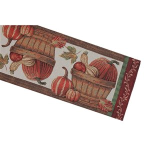 IH Casa Decor Fitted Tapestry Runner with Pumpkins in a Basket