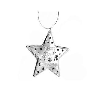 IH Casa Decor Silver Metal Star Ornament Set - 6-Pack