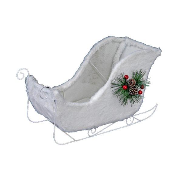 Décoration de Noël IH Casa Decor traîneau blanc velu