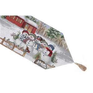 IH Casa Decor Fitted 54-in Tapestry Runner with Five Snowmen