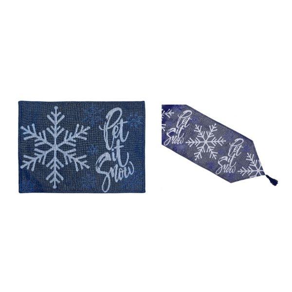 Ensemble de tapis de table ajusté par IH Casa Decor, bleu avec motif Let it snow