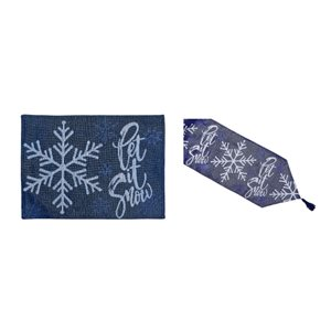 IH Casa Decor Fitted Blue Let It Snow Table Cover Set