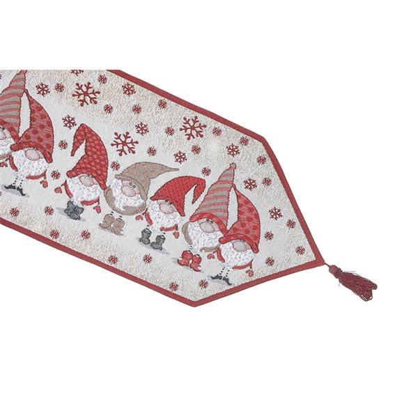Tapis de table en tissu de tapisserie ajusté par IH Casa Decor, 36po, cinq gnomes