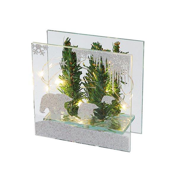 Décoration de Noël carrée IH Casa Decor paysage d'hiver argent et vert avec lumière DEL