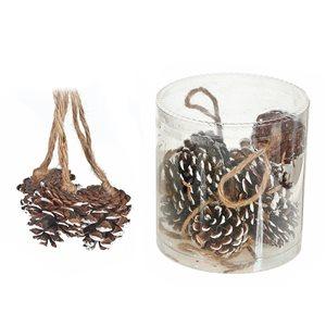IH Casa Decor White Pine Cone Ornament Set - 12-Pack