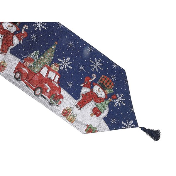 IH Casa Decor Fitted 36-in Tapestry Runner with Snowman with Gifts