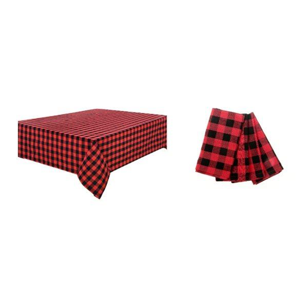 Ensemble de tapis de table ajusté par IH Casa Decor, motif à carreaux rouge et noir