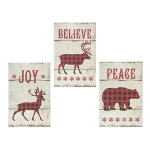 Ih Casa Decor 23.65-in White/Red/Black Christmas Wall Art - Set of 3