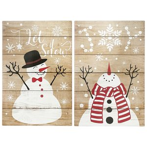 Ih Casa Decor 23.65-in White/Red/Black Christmas Wall Art - Set of 2