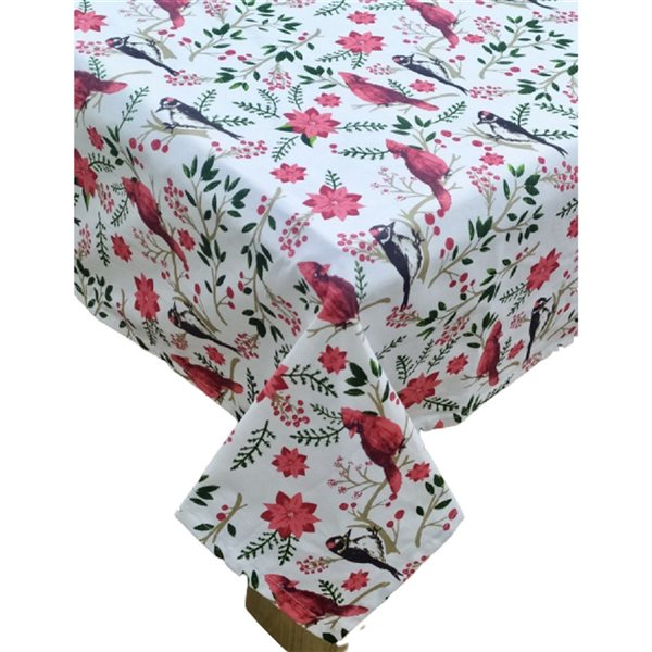 IH Casa Decor Fitted 60-in x90-in Cotton Tablecloth with Cardinal and Poinsettia Pattern