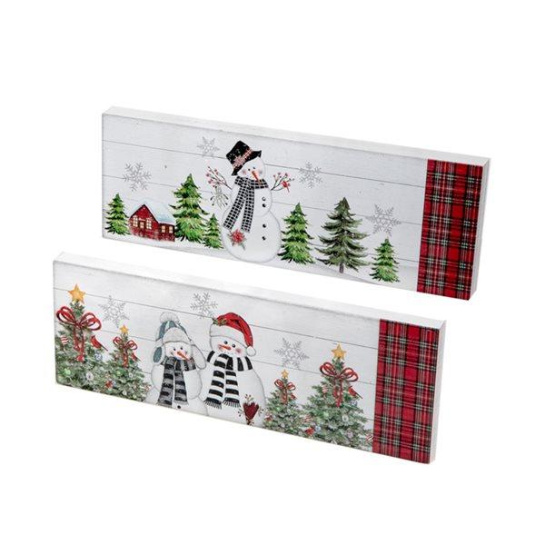 IH Casa Decor Snowman Rectangular Christmas Decoration - Set of 2