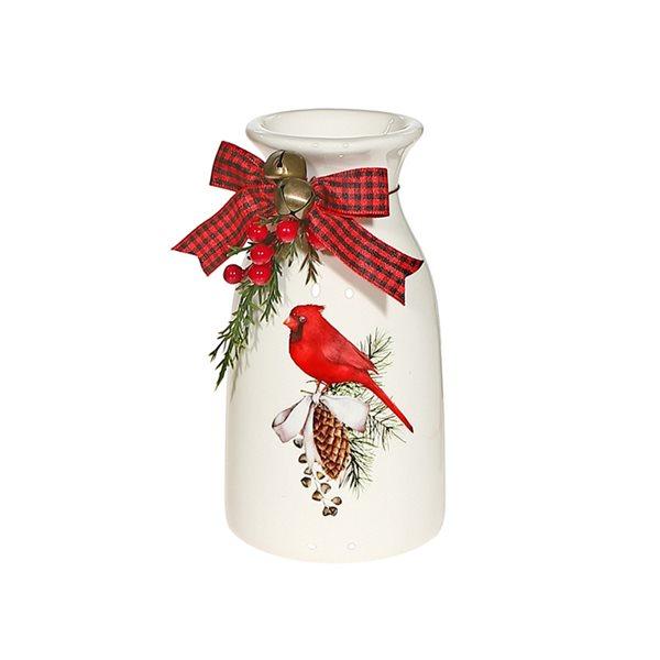 IH Casa Decor White and Red Cardinal Christmas Decoration