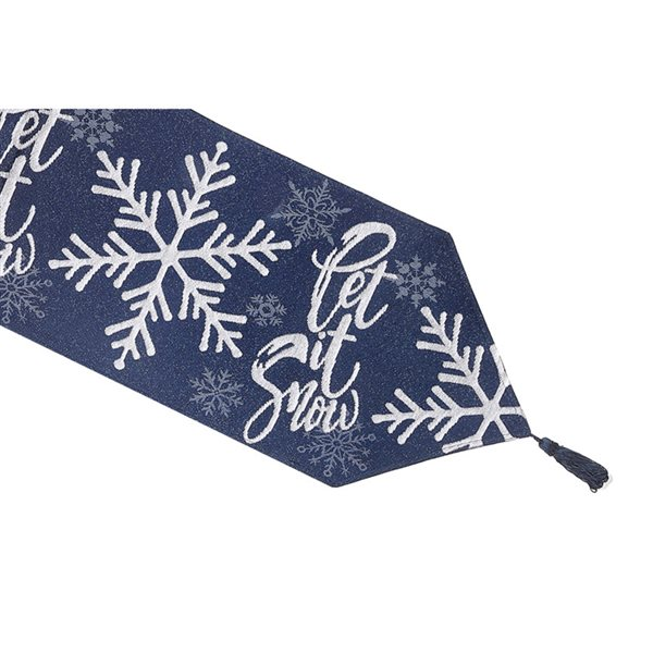 IH Casa Decor Fitted 36-in Blue Tapestry Runner with Let It Snow Pattern