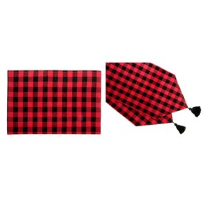 IH Casa Decor Fitted Red Buffalo Table Cover Set