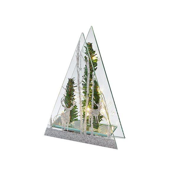 Décoration de Noël en forme de triangle IH Casa Decor paysage d'hiver vert et argent avec lumière DEL