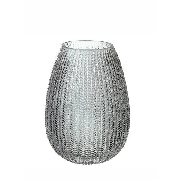 Vase en verre texturé en forme d'oeuf par IH Casa Decor, 6,5 po x 10 po, gris anthracite