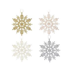IH Casa Decor Assorted Colours Snowflake Ornament Set - 12-Pack