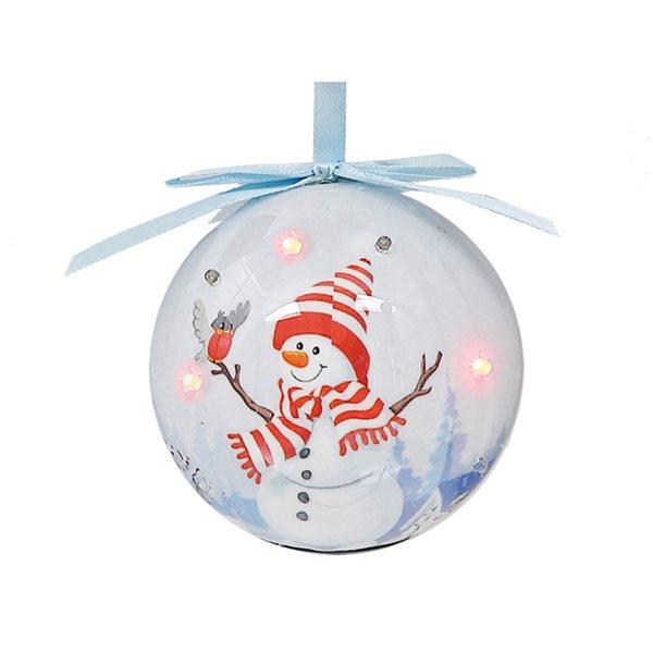 Ensemble d'ornements IH Casa Decor multicolores avec bonhomme de neige et oiseau à lumière rouge, paquet de 12