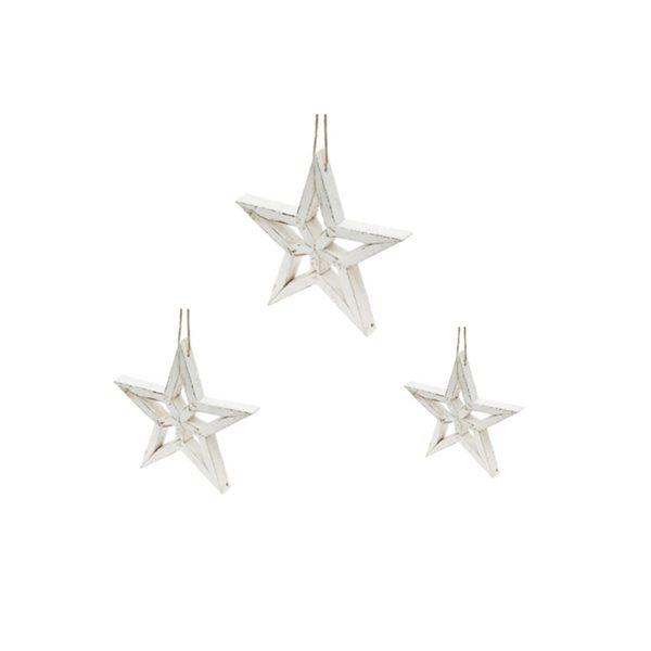 IH Casa Decor White Star Ornament Set - 3-Pack