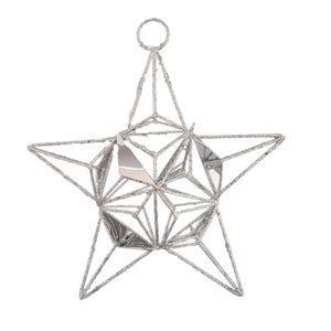 IH Casa Decor Silver Star Ornament with White Light